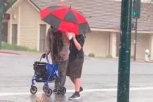 Xúc động cậu bé lao ra ngoài trời mưa đá che ô cho cụ già